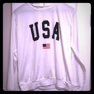 White USA Long Sleeve Tee